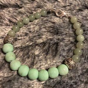 Light green Jade & green rubberized glass bracelet